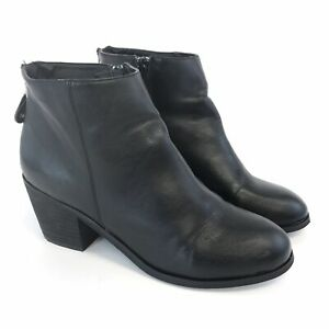 Office-Size-39-UK6-Black-Faux-Leather-Ankle-Zip-Up-Block-Heels-Booties-Boots