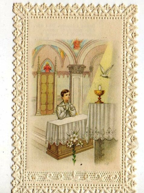 ANTIQUE HOLY CARD FIRST COMMUNION CHALICE 1959 CANIVET LACE