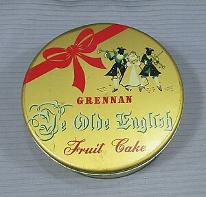 Vintage Grennan Old English Fruit Cake Empty Gold Tin Christmas 3x8 Can FREE S/H