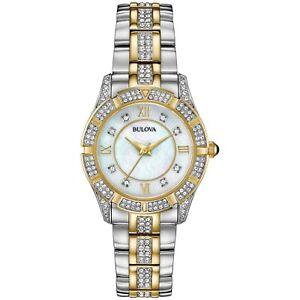 Bulova-Women-039-s-98L135-Quartz-Crystal-Accent-Two-Tone-Bracelet-30mm-Watch