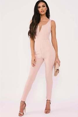New In The Style Sarah Ashcroft Pink V Front Plunge Unitard Jumpsuit UK 10 DG02
