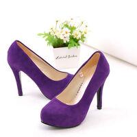 Women's Fashion Faux Suede Platform High Heel Party Pumps Shoes UK All Size o676