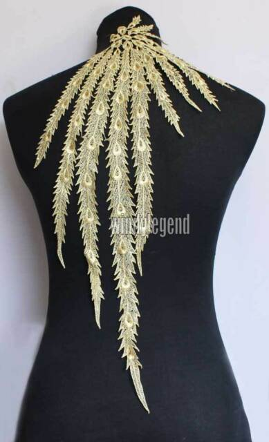 1 PC GOLD LONG PEACPCK FEATHER POLYESTER VENISE LACE APPLIQUE TRIMS CRAFT