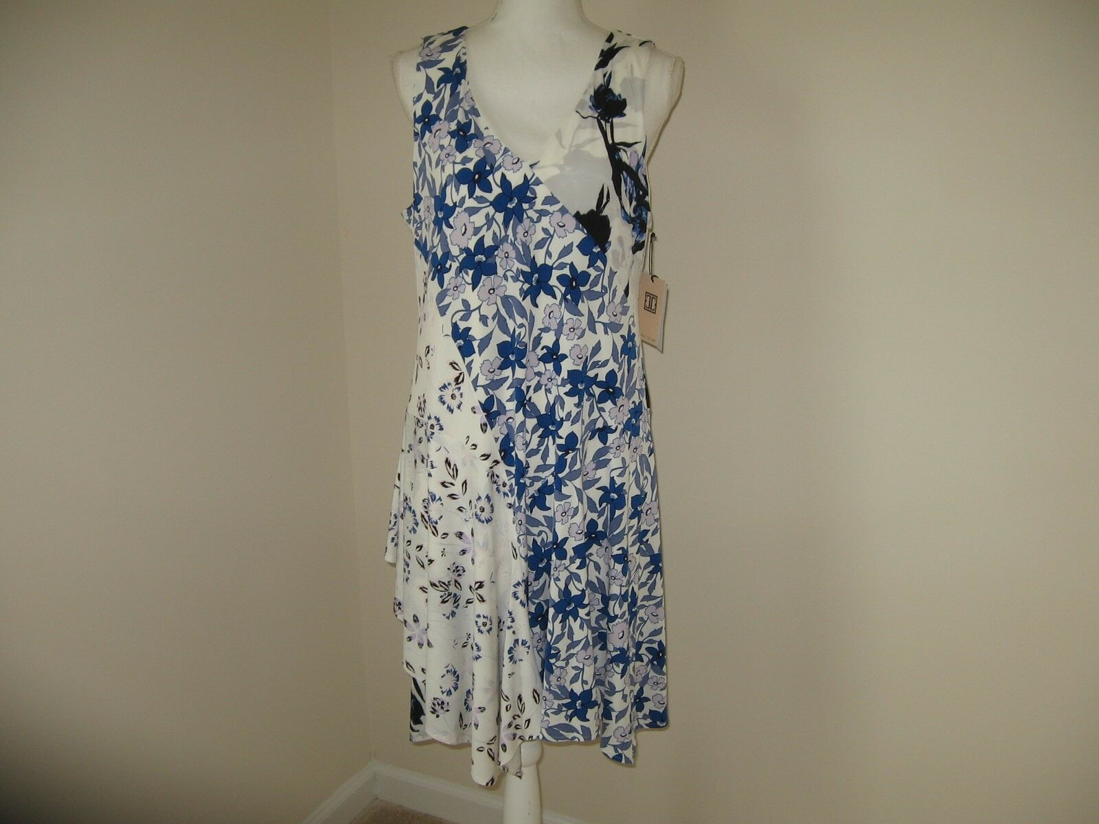 Ivanka Trump Floral-Print Drop-Waist Fit & Flare Dress for Woman Size L NWT