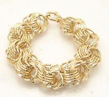 "7.5"" Technibond Diamond Cut Love Knot Bracelet 14K Yellow Gold Clad 925 Silver"