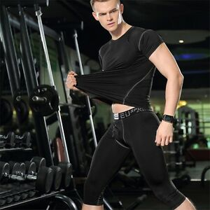 Mens Casual Medium long Shorts Sports compression Base layers Fitness tight GYM
