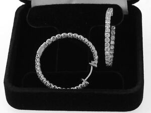 3-00-CT-Diamond-Inside-Outside-Hoop-Earrings-in-14k-White-Gold-New