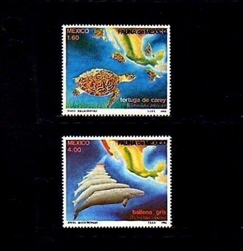 MEXICO - 1982 - HAWKSBILL TURTLE - GREY WHALE - FAUNA - MAP - 2 X MINT  MNH SET!