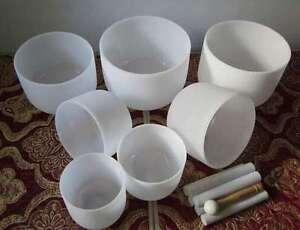 432HZ PITCH CHAKRA TUNED SET OF 7 QUARTZ CRYSTAL SINGING ... Quartz Crystal Bowls