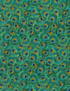 Plume Fabric - Metallic Peacock Feather Blue Green - Timeless Treasures YARD