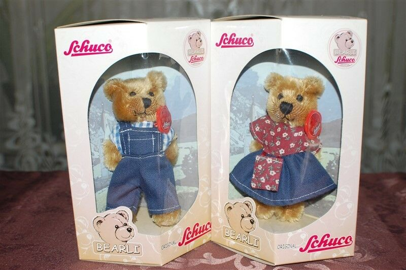 Schuco Bearli Daddy and Mommy Bear Collectible Mohair Bears NIB Set of 2