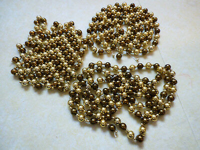 """GOLD & SILVER COLOR BALL BEAD CHRISTMAS TREE GARLAND 112""""L EACH SET OF 3"""