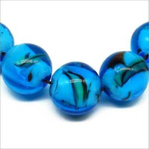 Lot-de-4-Perles-Rondes-Artisanales-en-Verre-Lampwork-12mm-Bleu-Style-Murano