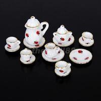 15 pcs 1:12 Porcelain Tea Pot Cup Plate Set Dolls house Miniature Ladybug Print