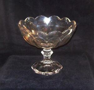 Vintage-Pressed-Glass-Tazza-Comport-of12-lobed-shape-with-Helsey-Diamond-mark