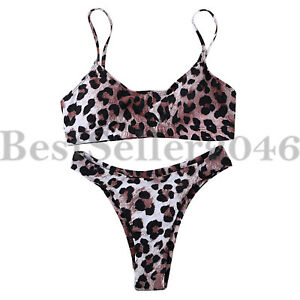cfebc244cc0 Women High Cut Brazilian Bikini Bottom Scoop Crop Top Leopard Print ...