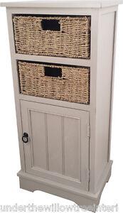 Grey Mist 1 Door 2 Wicker Basket Bathroom Bedroom Cabinet Storage Unit Assembled