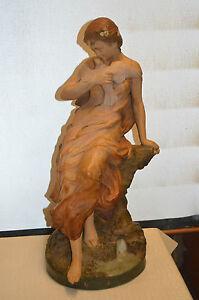 Sur Colombe En Signe Avec Femme Foretay Détails Une Cuite Statue N°971 Terre lFTJK1c