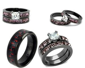 image is loading his tungsten red and her pink cz light - Black And Pink Wedding Ring Sets
