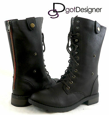 Women's Shoes Foldable Military Combat Boots Lace Up Mid Calf Round Toe Low Heel
