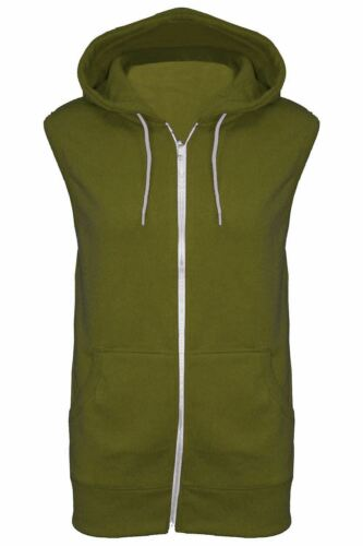 Mens Sleeveless Hooded Hoodie Casual Zipper Sweatshirt Gilet Jacket Jumper Top
