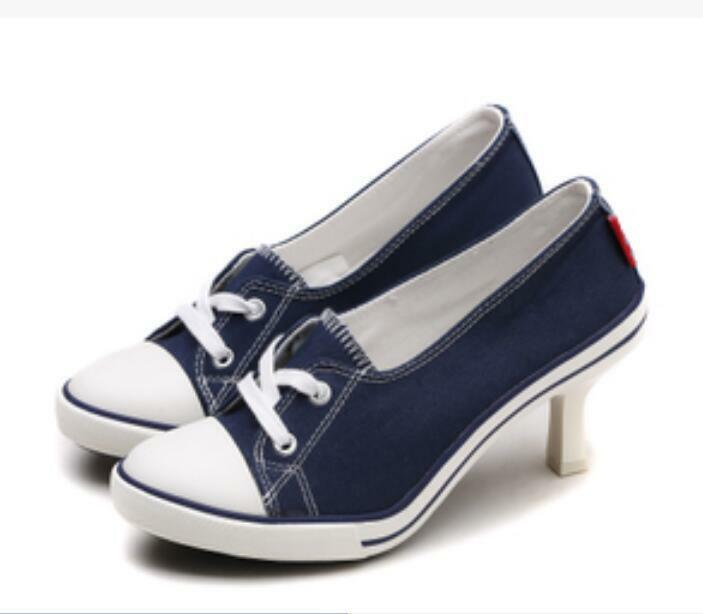 Para mujer Puntera en Punta con Cordones Tacones Altos Altos Altos Bombas Zapatos Zapatillas De Lona Tacones De Aguja Talla  Venta al por mayor barato y de alta calidad.