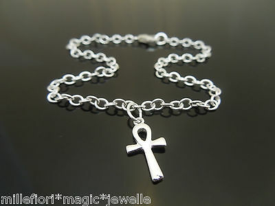 "3mm Sterling Silver Bracelet Or Ankle Chain Anklet Ankh Charm 7"" 8"" 9"" 10"" 11"""