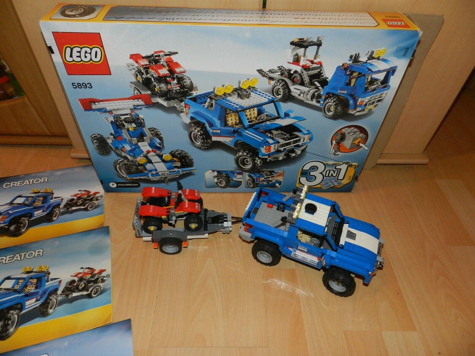 Lego 5893 Creator, jeep avec quad, 100% complet, 3 in 1,mit recettes, NEUF dans sa boîte