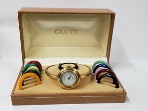 84bcd2f067b4 Image is loading GUCCI-LADIES-BANGLE-WATCH-1100-L-12-Interchangeable-