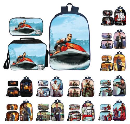 Grand Theft Auto V Schoolbag Boys 3Pcs Bags Set Lunch Bag Pencil Case Lot