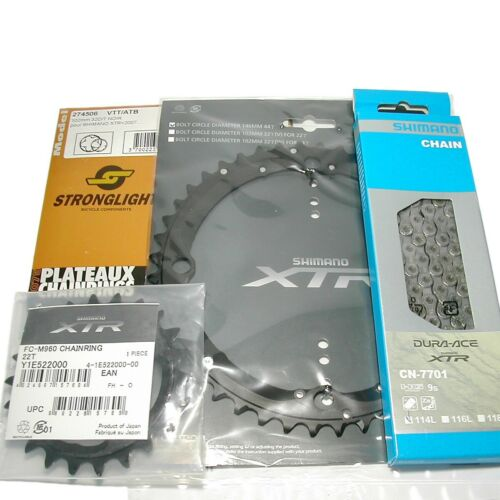 Blätter Kettenblatt f Shimano Kurbel FC-M960 oder XTR Dura Ace Kette CN-7701