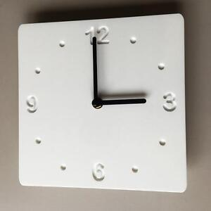 Square-White-Gloss-amp-White-Backed-Clock-with-Black-Hands-Silent-Sweep-Movement