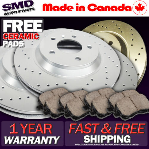 Z0580 Performance Cross Drilled Brake Rotors /& Ceramic Pads FRONT+REAR SET