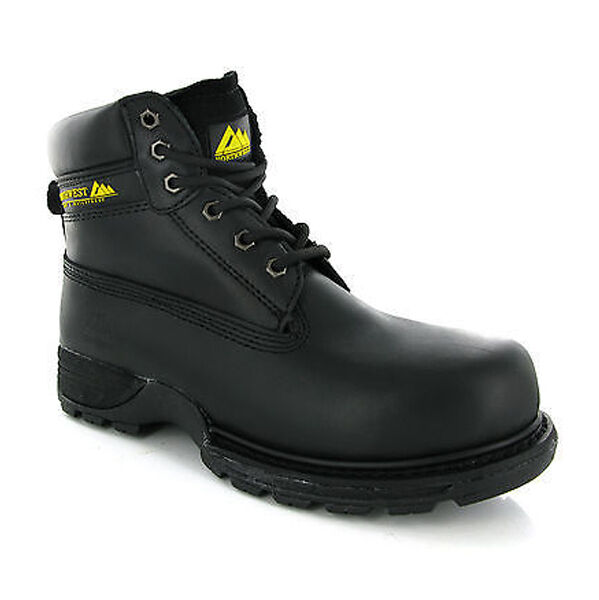 Northwest Waterproof Safety Black Steel Toe Cap Mens Work Leather Boots Size UK8