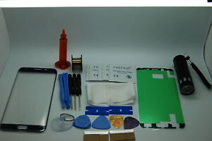 Samsung-Galaxy-S6-Edge-Bleu-Kit-de-Reparation-Verre-Ecran-Avant-Colle-Torche