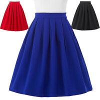Vintage Women Stretch High Waist Skater Flared Pleated Swing Midi Skirt Dress