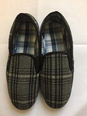 Hombre Nuevo en la caja gris/negro comprobar Pantuflas Uk Size 10 EUR 43