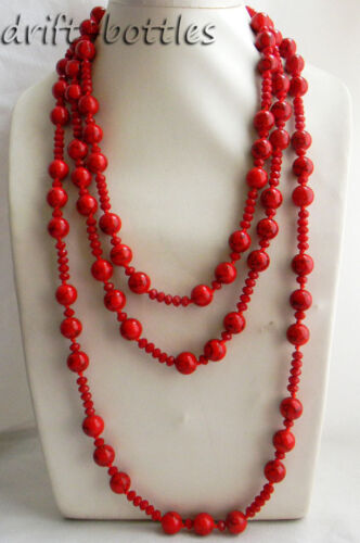 82/'/' 12mm Red Round Turquoise Faceted Crystal Necklace