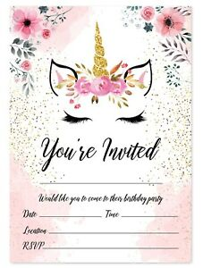 Image Is Loading Unicorn Theme Birthday Party Invitations Kids Invites Children