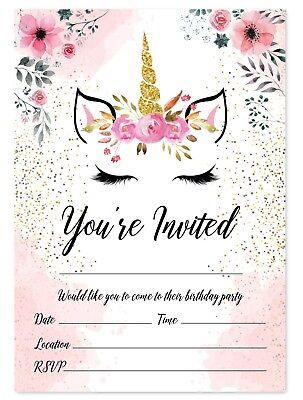 Unicorn Theme Birthday Party Invitations Kids Invites Children Pink Girls Ebay