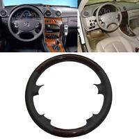 Wood Grey Leather Steering Wheel Cover Mercedes 06-09 W211 E 03-09 W209 R230 SL