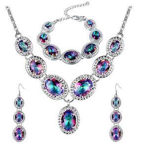 Hanmade Jewelry Set Natural Rainbow Mystic Topaz Gems Bracelet Pendant Earrings