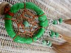 Cute GREEN Mini Leather Dream Catcher 3 cm Web x 17 cm Total Length Keyring
