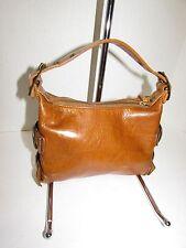 KOOBA Cognac Leather Zippered Top Buckle Detail Baguette Mini Handbag
