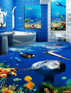 Detalles De 3d Ocean World Tiburones Papel Pintado Mural Pared Calcomanía De Impresión De Piso 5d Aj Wallpaper Ver Título Original