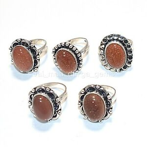 Wholesale 5 Pcs Lot Sunstone Gemstone 925 Sterling Solid Silver Rings RS-49