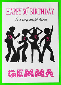 Image Is Loading PERSONALISED 50th Birthday Card Disco GIRL FEMALE MUM