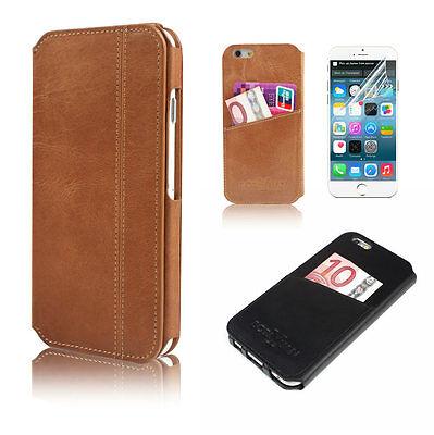 Premium 100% Genuine Leather Wallet Flip Case Cover For Apple iphone 6 & 6 Plus