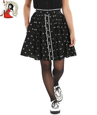HELL BUNNY HOP ALONG MINI SKIRT bunny hearts EASTER zip BLACK