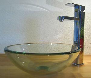 bad g ste wc waschtisch aufsatz glas waschbecken waschschale klarglas rund 31cm ebay. Black Bedroom Furniture Sets. Home Design Ideas